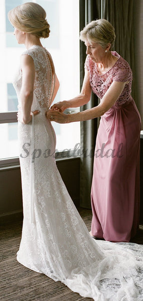 Vintage Lace Cap Sleeve See Through Neckline Sheath Wedding Dresses WD369