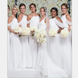 White Chiffon Cheap Halter Formal Elegant Bridesmaid Dresses ,  WG381