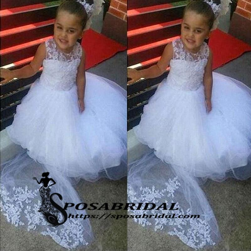 White Lace Cheap Cute Baby  Flower Girl Dresses with train, Soft Modern Junior Bridesmaid Dress , FG128