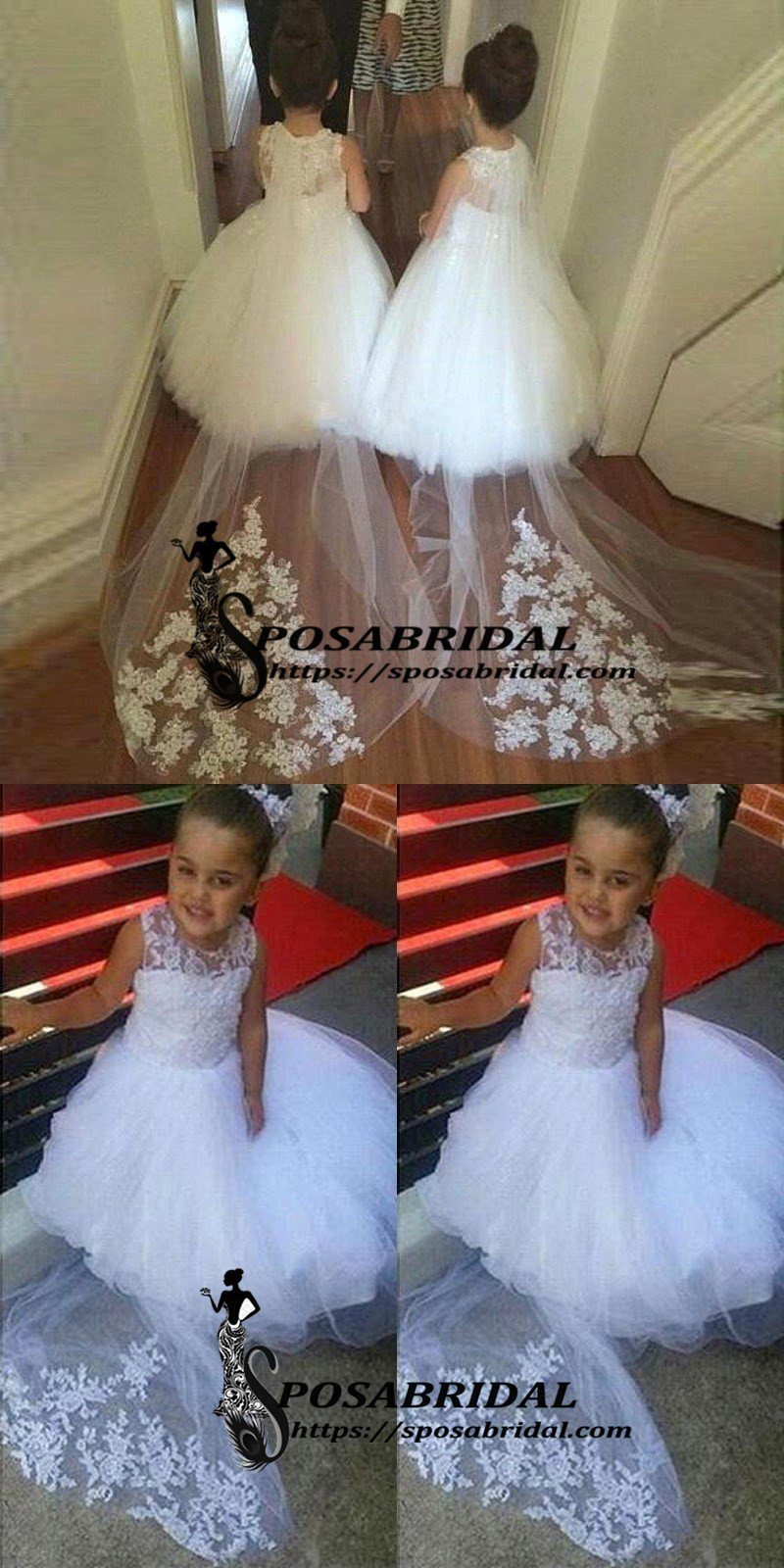 White Lace Cheap Cute Baby Flower Girl Dresses With Train Soft