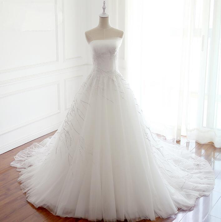 White Long Handmade Popular Wedding Dresses, Elegant Lace Up Beautiful Bridal Gowns, WD0296