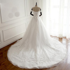 White Off Shoulder Long Affordable Wedding Dresses, Real Made Cheap High Quality Bridal Gowns With Train, WD0297