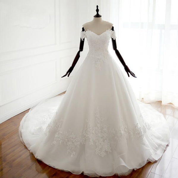 White Off Shoulder Long Affordable Wedding Dresses Real Made Cheap