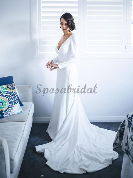 White Satin Long Sleeve V-neck With Train Simple Wedding Dresses WD370