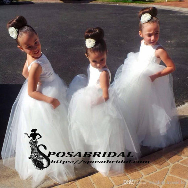 White Scoop Cute Lovely Affordable New Flower Girl Dresses, Junior Bridesmaid Dresses, FG126