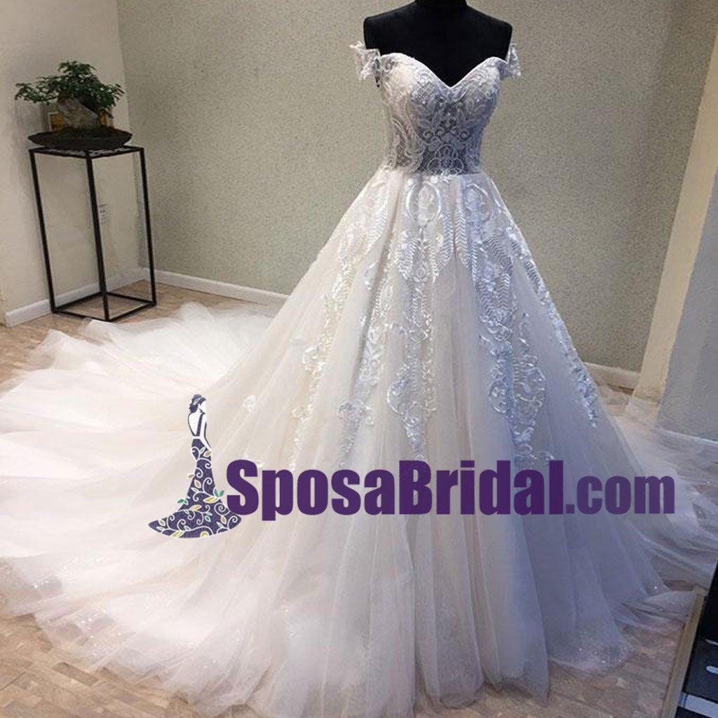 Off Shoulder Lace Up Back Long Tulle and lace Wedding Dresses with ...