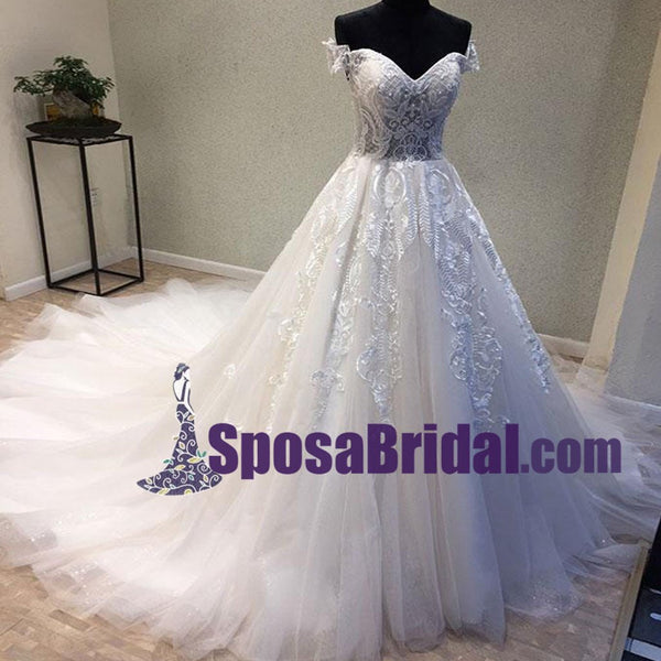 Off Shoulder Lace Up Back Long Tulle and lace Wedding Dresses with train, Elegant Pretty Bridal Gowns. WD0267