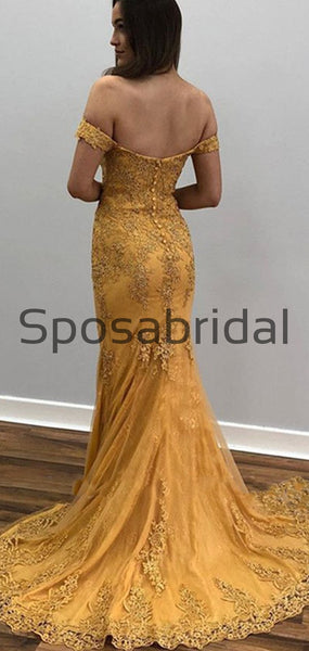 Yellow Off-The-Shoulder Appliques Sexy Mermaid Prom Dresses PD2336