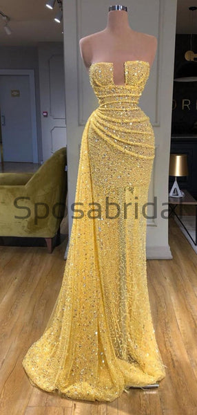 Yellow Sequin Sparkly Unique Formal Elegant Prom Dresses PD2257