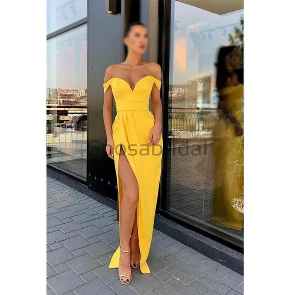 Yellow Cheap Modest Off The Shoulder Mermaid Side Slit Fashion Long Prom Dresses PD1686