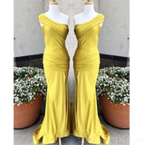 Yellow Elegant Formal One Shoulder High Slit Sexy Mermaid Bridesmaid Dresses, WG543