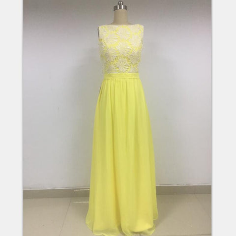 Yellow Lace Chiffon  Charming Discount Cheap Prom Dresses Online,DD015