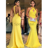 Yellow Long Open Back Mermaid Elegant Prom Dresses, Evening dress PD1689