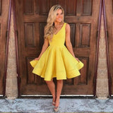 Yellow Short A-Line V-Neck Simple g Junior Cheap Discount Unique HomecominDresses, BD0229