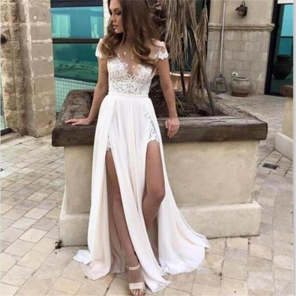 Most Popular Bridesmaid Dress: Cap Sleeves Simple Slit Most Popular Lace Chiffon