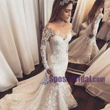 Long Sleeves Lace Ivory Wedding Dresses, Hot Sales Spring Wedding Dress, Best Bridals Gowns Online, WD0262