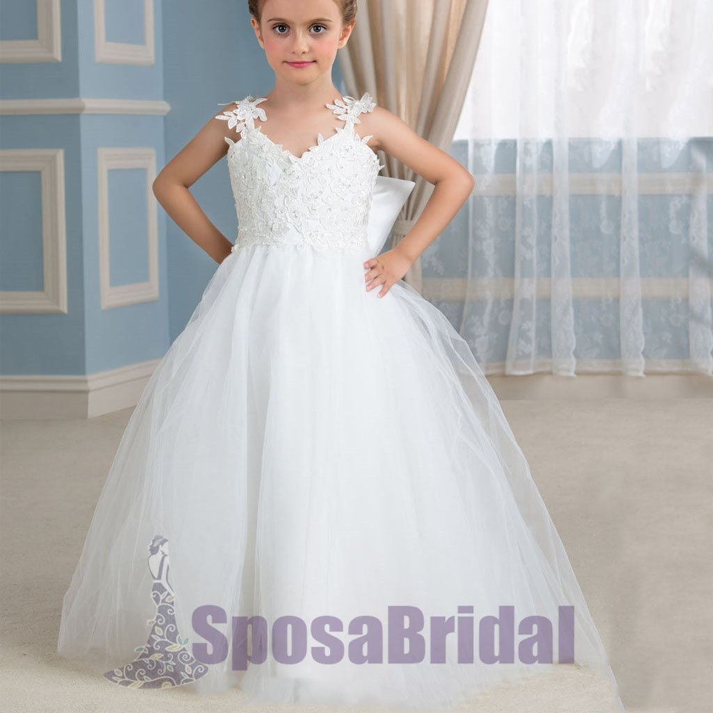 Cheap Comfortable Tulle Straps Lace Appliques Flower Girl Dresses with bow , Junior Bridesmaid Dresses, FG105
