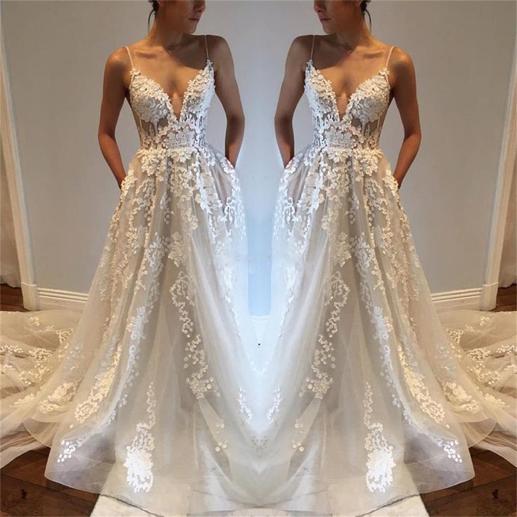 Charming New Arrival Straps Popular Pretty High Quality Lace Appliques Prom Dress, PD0371