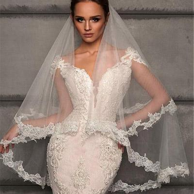 Charming Delicate Tulle Wedding Veil With Lace Appliques For Wedding Party, WV0108 - SposaBridal
