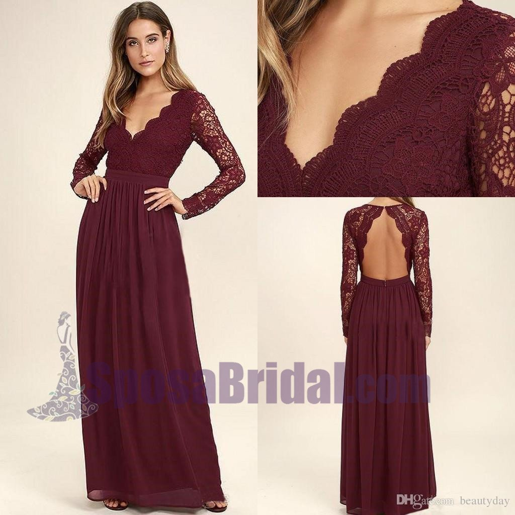 2018 Cheap Chiffon Lace top Long Sleeves Custom Most Popular Open Back Bridesmaid Dress , WG215