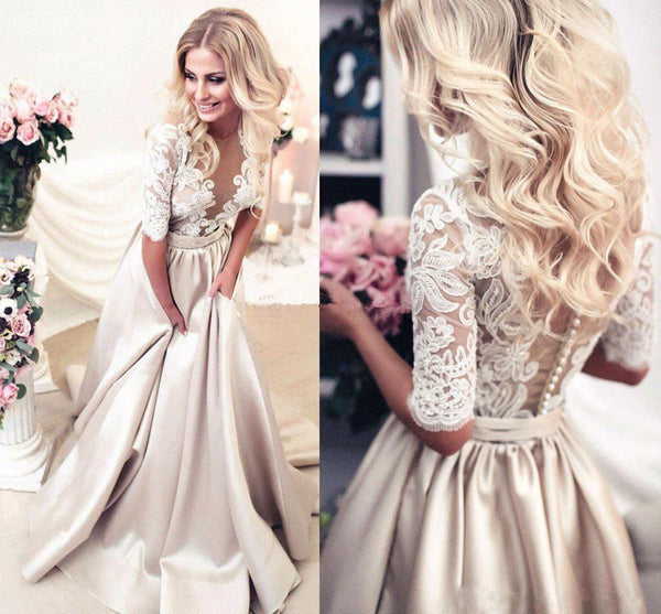 2018 New Simple Elegant Wedding Dress Beautiful Lace A: 2018 Charming New Arrival Half Sleeves Lace Top Soft