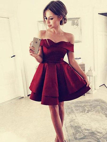Cheap Simple Off Shoulder Dark Red Homecoming Dresses 2018, CM443 - SposaBridal