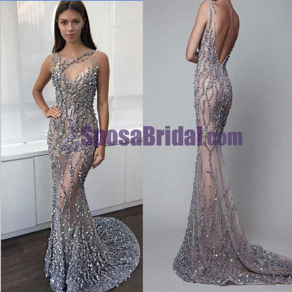 See-through Sequin Long Mermaid Prom Dresses, Modest Fashion Newest Prom Dress, formal evening dress, PD0701