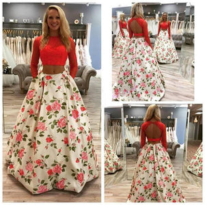Two pieces Flower Beautiful Charming Cheap Fashion Prom Dress, Party Dress, PD0316