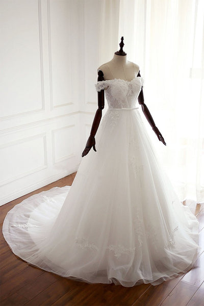 Off Shoulder Lace Applique Lace Up Back New Unique Design Wedding Dress , Bridals Dress, WD0260