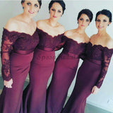 2017 Sexy Mermaid Long Sleeve Lace Long most popular Bridesmaid Dresses with Small Train ,WG153