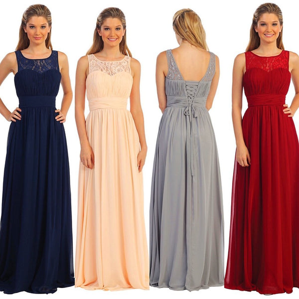 2017 New Design Chiffon lace up back Cheap Floor-length A-line Bridesmaid Dresses, wedding guest dress, PD0342