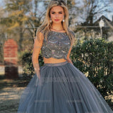 Two Piece Cap Sleeves Grey Long Formal Prom Dresses, Party Dress, Evening dresses, PD0567