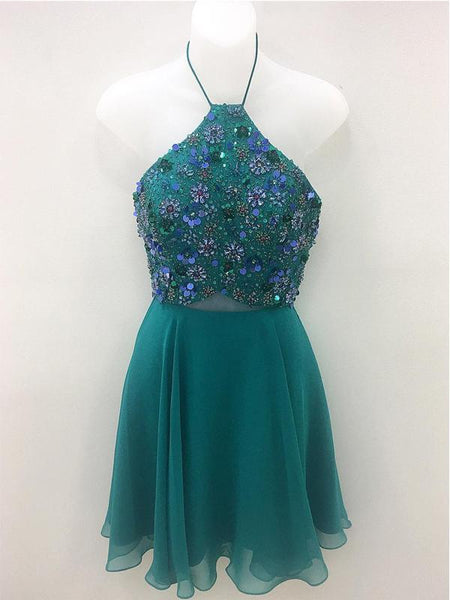 Green Chiffon Beaded Cheap Short Homecoming Dresses Online, CM599