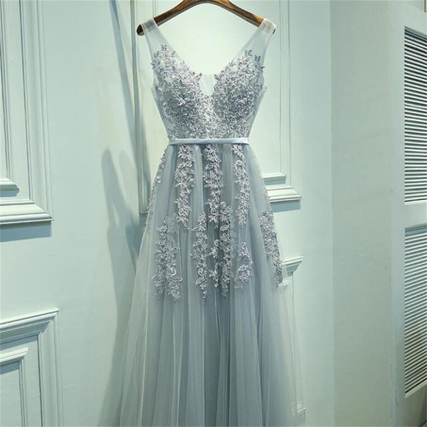 2018 Custom  Cheap V Neckline Grey Lace Evening Tulle Long Party  online Prom Dress,  PD0324