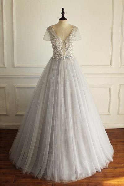 Charming  Tulle Short Sleeves Gorgeous V Neck Sexy Wedding Dress, Bridals Dress, WD0259 - SposaBridal