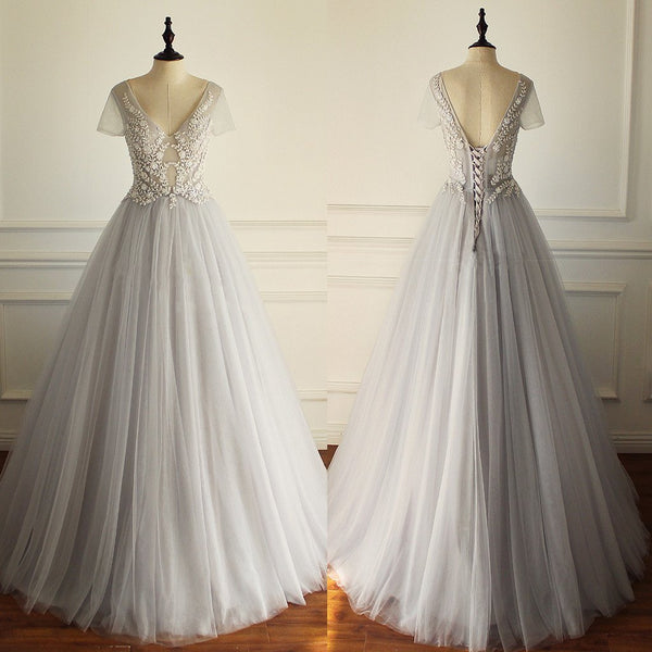 2018 Charming  Tulle Short Sleeves Gorgeous V Neck Sexy Wedding Dress, Bridals Dress, WD0259