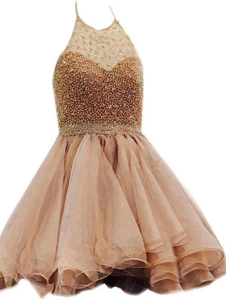 Halter Beaded Organza Short Cheap Homecoming Dresses 2018, CM419
