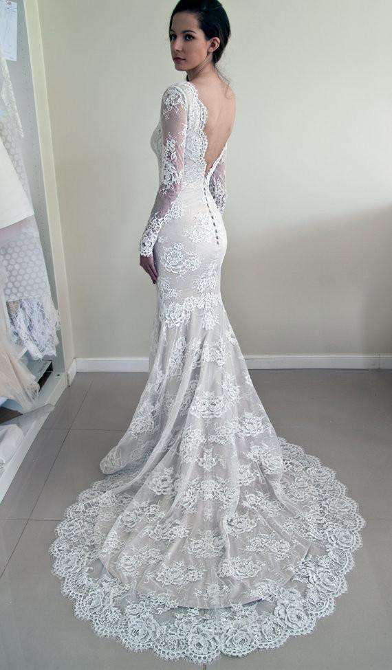 Long Sleeves Lace V-Back Elegant New Design Mermaid With Train Wedding Dresses,  WD0231