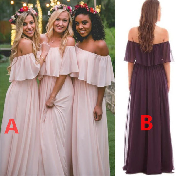 Off Shoulder Chiffon Cheap Popular New Simple Bridesmaid Dress ... 97dc06d2e3da