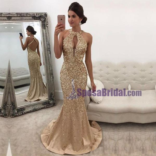 Charming Custom Grey Beading Sparkly Newest Fashion Popular Prom Dresses, Evening party dress, PD0607 - SposaBridal