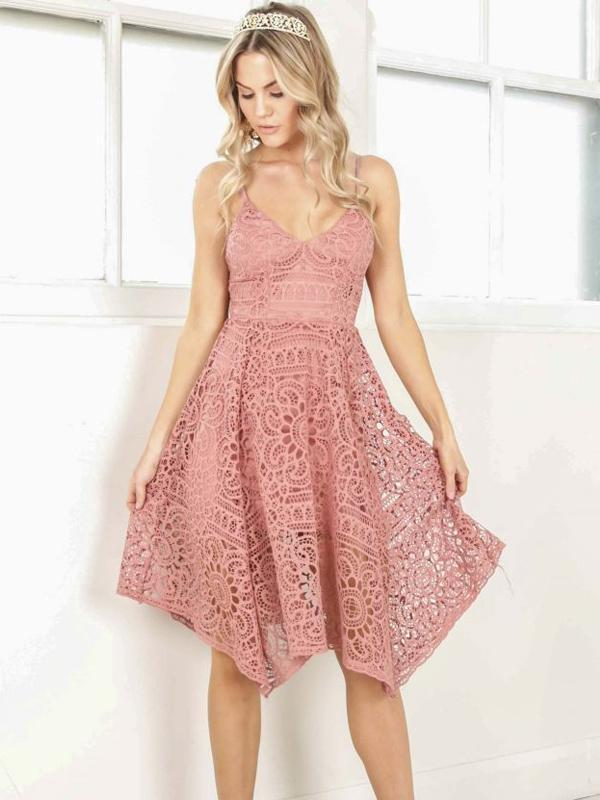 Peach Lace Scoop Neckline Short Cute homecoming prom dresses, CM0009
