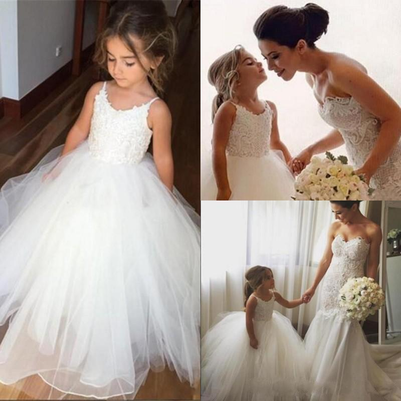 Spaghetti Lace Top White Tulle Hot Sale Flower Girl Dresses For ...