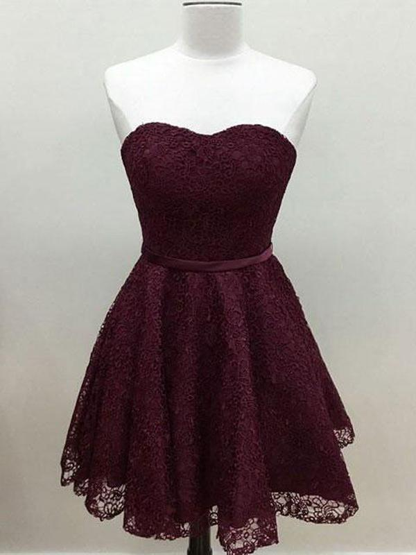 Sweetheart Cute Simpe Maroon Short Lace Homecoming Dresses 2018, CM491