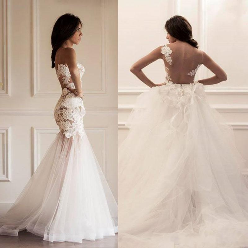 Two Pieces Strapless Gorgeous Lace Wedding Dresses, Mermaid Tulle ...