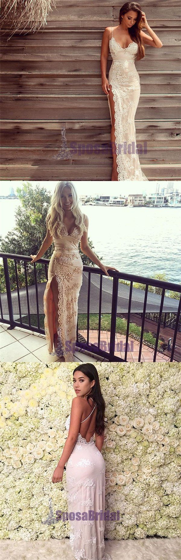 Charming Lace Sexy Spaghetti Straps Mermaid Side Slit Prom Dress, Evening Dress, PD0442 - SposaBridal