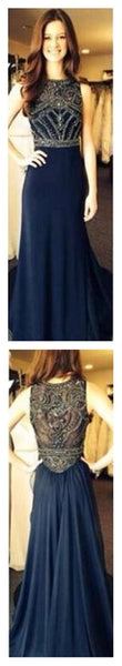 Navy  Long  Popular Pretty Prom Dresses,Best Sales Prom Dresses,Party ,Evening Prom Dresses, PD0006