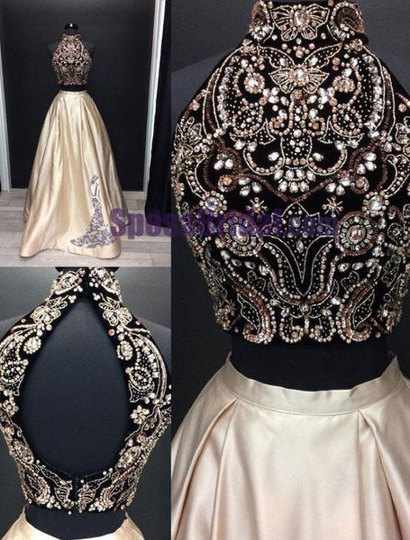 e5e7aeda85cef 2020 Beading Two Pieces Sparkly Open Back Halt Prom Dresses, Popular  Fashion Prom Dress for party,PD0669
