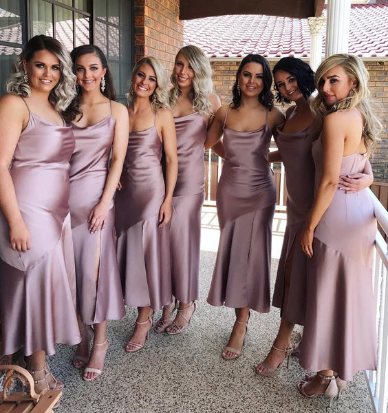 Spaghetti Straps Simple Soft Side Split Bridesmaid Dresses, Popular Cheap Bridesmaid Dress, PD0482