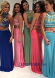 Beading Two Pieces Halter High Neck Gorgeous Prom Dresses, Sparkly Shining Prom Dresses, PD0624 - SposaBridal
