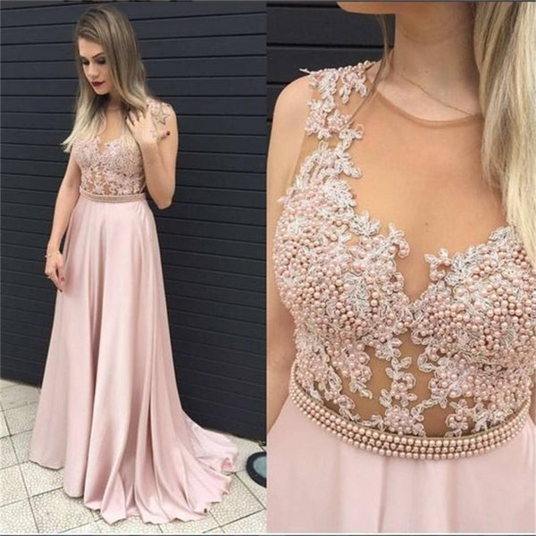 Pink Beading Lace Appliques Sexy Formal Party Cocktail Evening Long Prom Dresses Online,PD0171